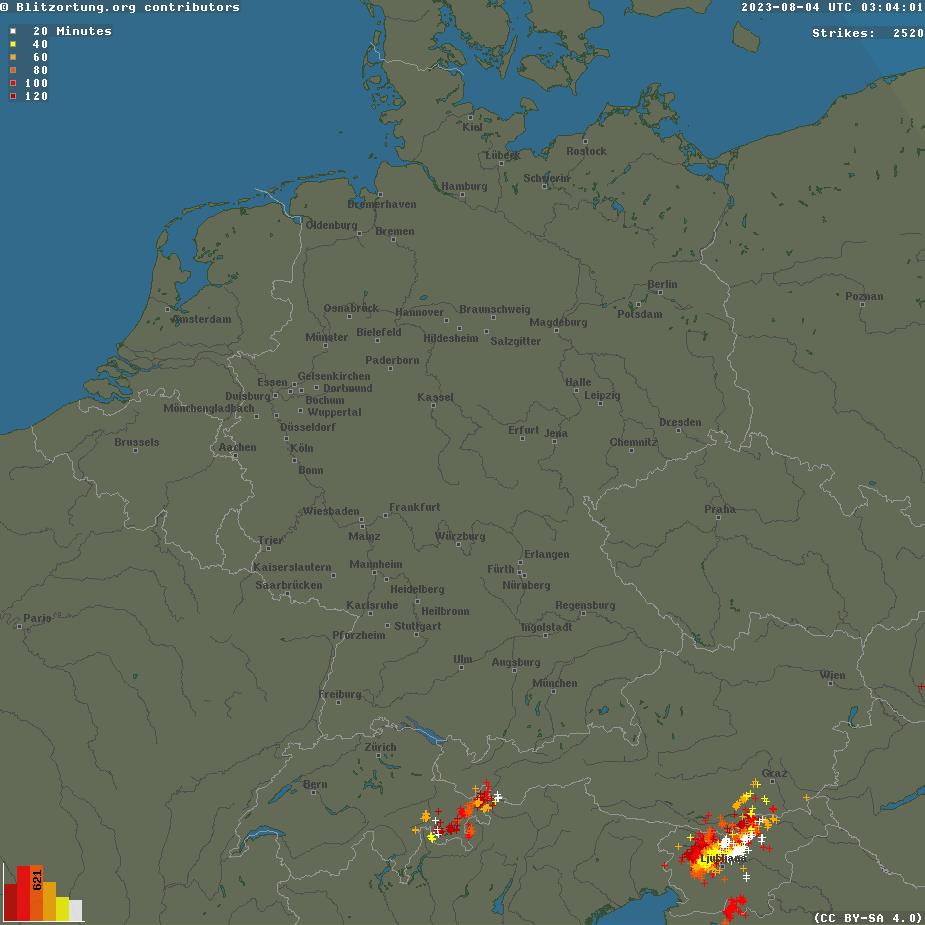 Aktuelle Blitzortung für Deutschland