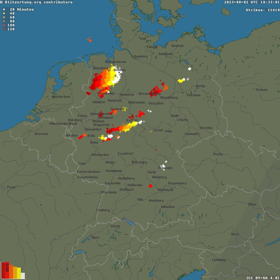 Blitzkarte Mitteleuropa