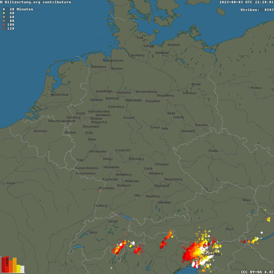 Verteilung der Blitze (Gewitter) Mitteleuropa