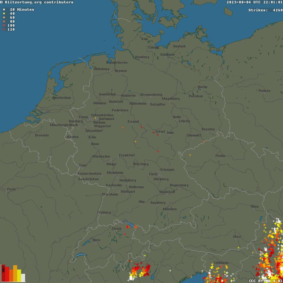 Aktuelle Unwetterwarnungen f�r Deutschland