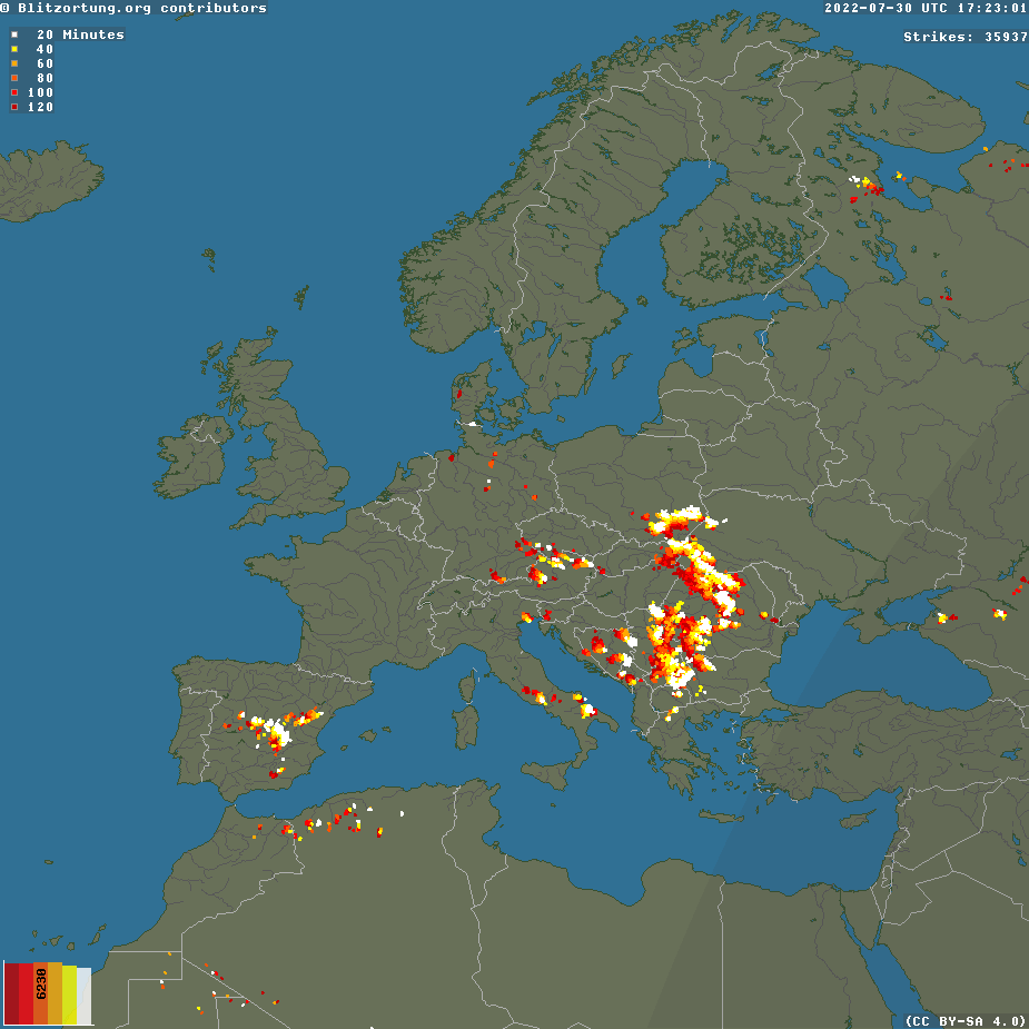 Europe and Middle East Lightning Radar