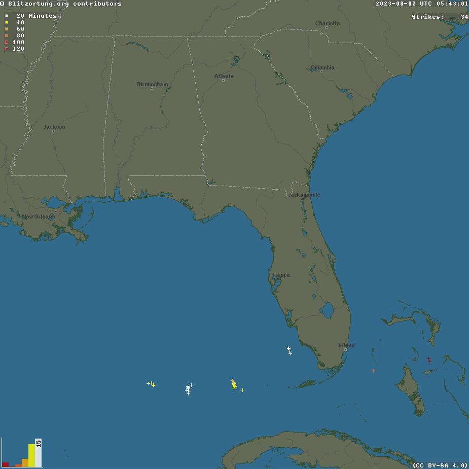 Blitzortung.org Southeastern US Lightning