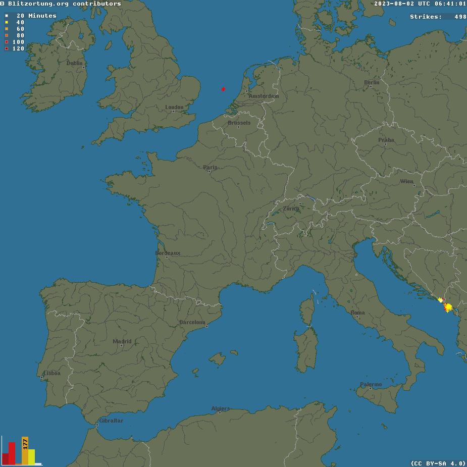 Impacts de foudre en Europe