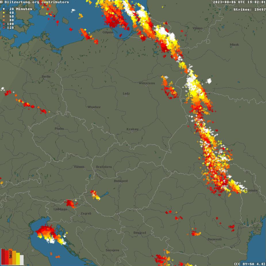 Európa villámtérképe