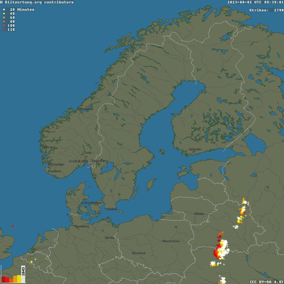 Blitzradar - Nordeuropa