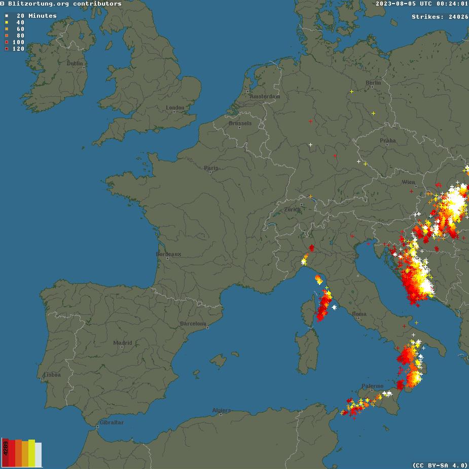 mappa fulminazioni europa in tempo reale