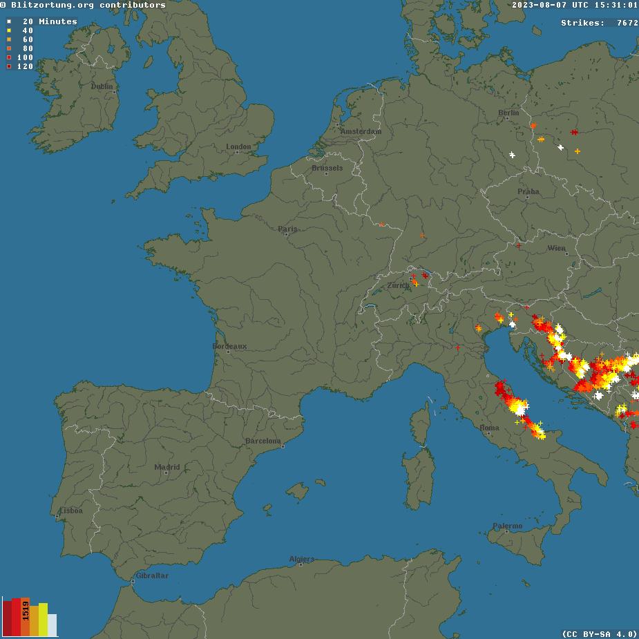 mappa in tempo reale dei fulmini osservati in europa centro meridionale