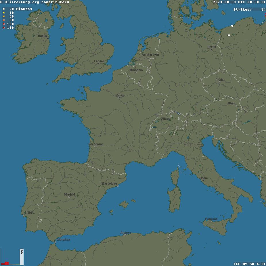 Fulminazioni fornite da lightningmaps